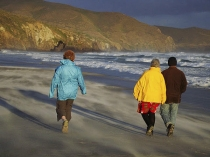 Three_adult_figures_colourfully_dressed_walking_along_remote_sandy_Allans_beach_on_Otago_peninsula_with_stormy_surf_and_breakers