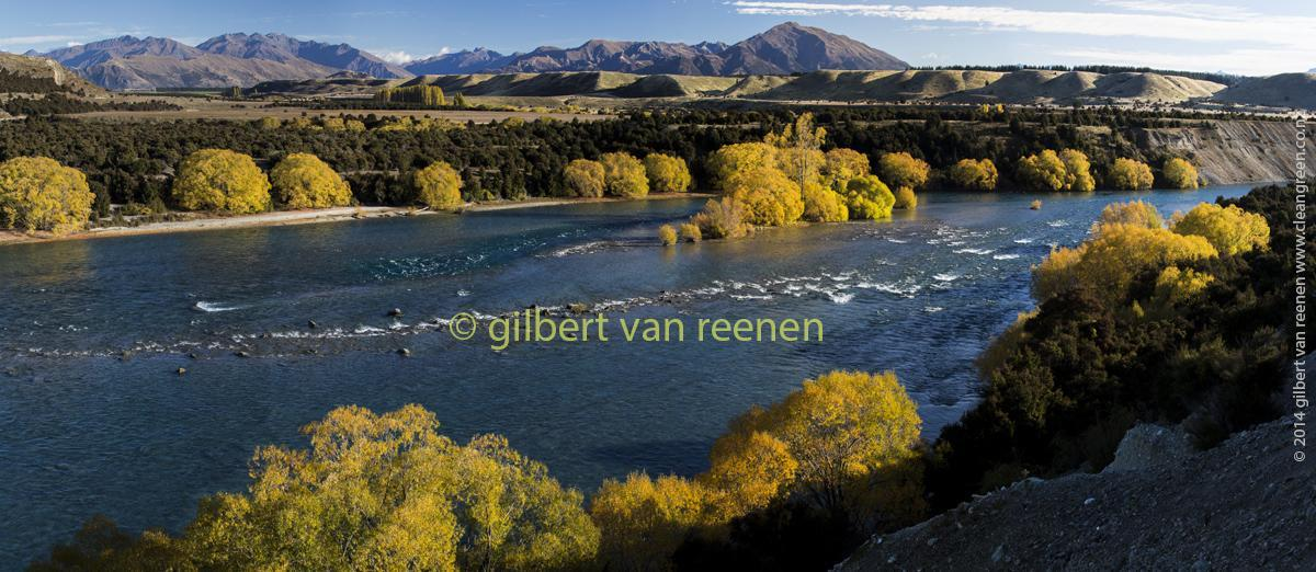 Pristine NZ waterway - Clutha Mata Au River and Central Otago Autumn Colours near Rekos Point Historic Reserve Lake Wanaka at Luggate.
