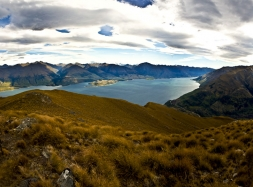 Alpine_Grassland_on_Isthmus_Peak_Glendene_Station_above_Lake_Wanaka_looking_north_over_the_Neck_linking_Lake_Hawea,_Minaret_Bay,Minaret_Station_and_Makarora_Val